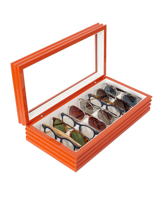 Oyobox Maxi Wave Wood Eyewear Organizer, Wave Orange