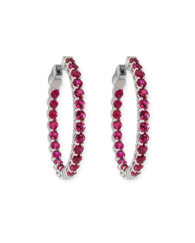 American Jewelery Designs Small Ruby Hoop Earrings in 18K White Gold