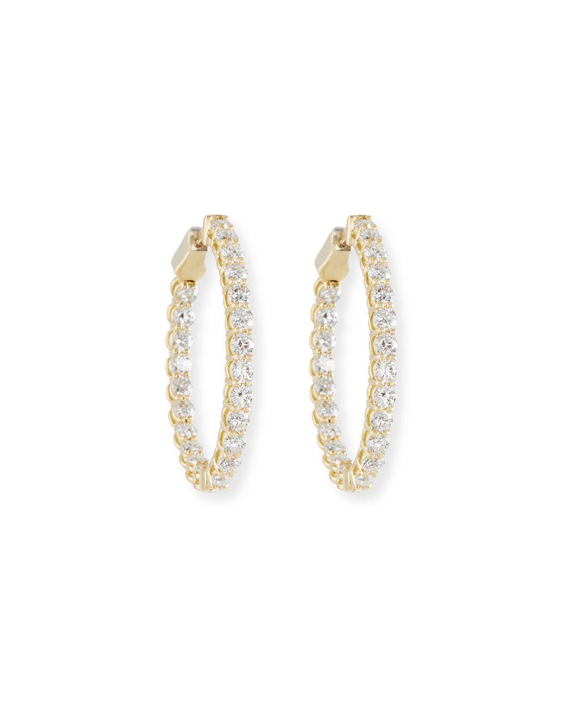 American Jewelery Designs Diamond Hoop Earrings in 18K Gold