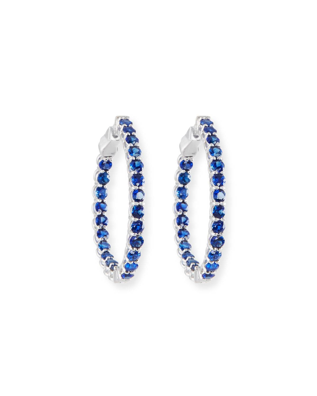American Jewelery Designs Small Blue Sapphire Hoop Earrings