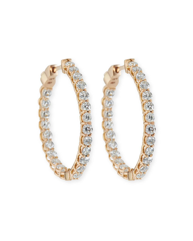 American Jewelery Designs Small Diamond Hoop Earrings in 18K Rose Gold