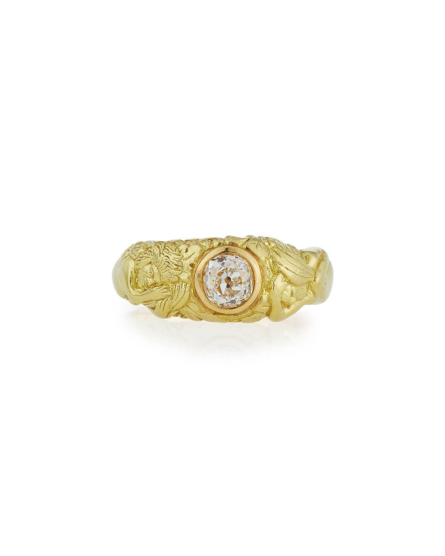 Turner & Tatler 18K Adam & Eve Diamond Ring, Size 7