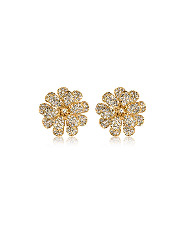 Hueb Secret Garden 18k Gold & Diamond Flower Stud Earrings