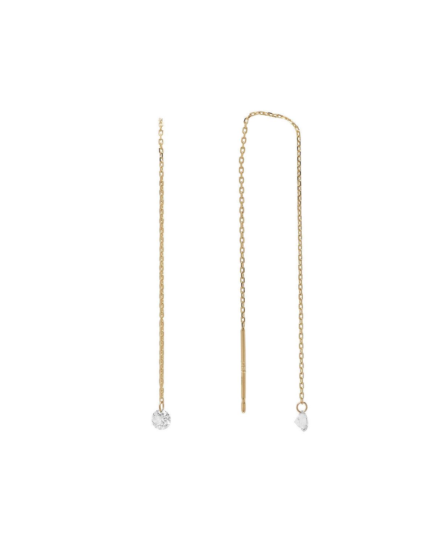 Nicha Jewelry 18k Delicate Floating Diamond Threader Earrings