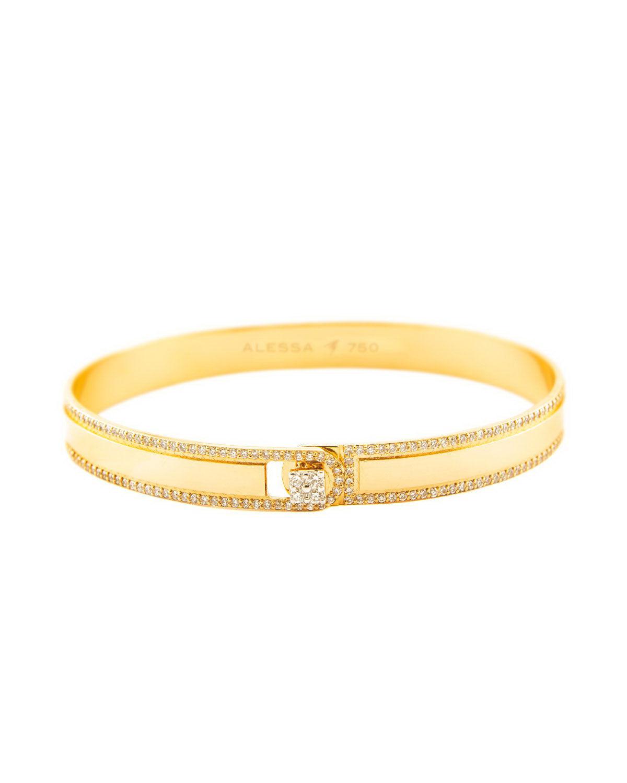 Alessa Jewelry Spectrum Painted 18k Yellow Gold Bangle w/ Diamonds, Yellow, Size 17
