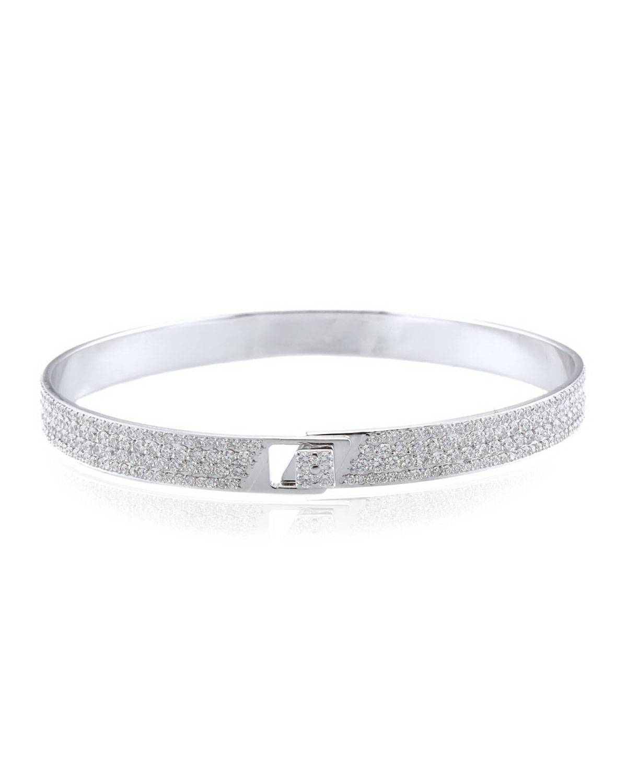 Alessa Jewelry Spectrum 18k White Gold Bangle w/ Pave Diamonds, Size 18