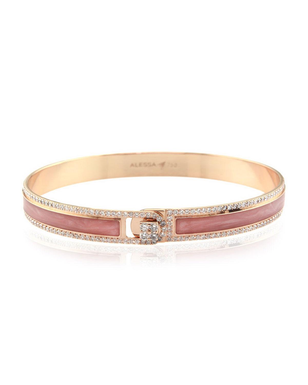 Alessa Jewelry Spectrum Painted 18k Rose Gold Bangle w/ Diamonds, Pink, Size 18