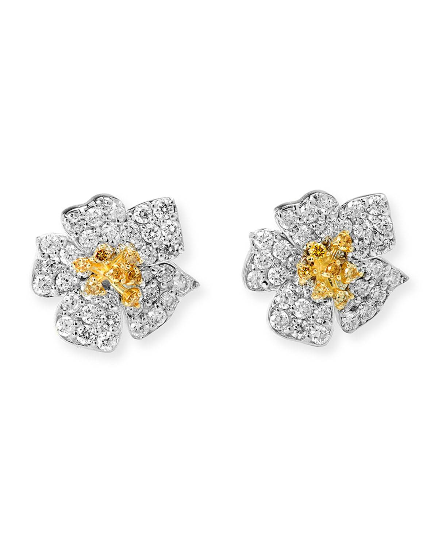 Stambolian Enchanted Garden 18k White & Yellow Diamond Earrings