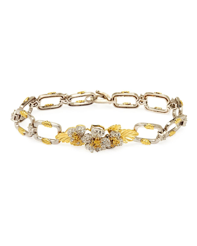 Stambolian Enchanted Garden 18k Two-Tone Chain Bracelet w/ Diamond Flowers
