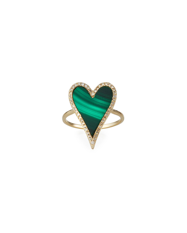 Kastel Jewelry Muse Malachite Heart Ring with Diamonds, Size 7