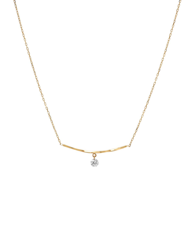 Nicha Jewelry 18K Gold Diamond Drop Twisted Bar Necklace