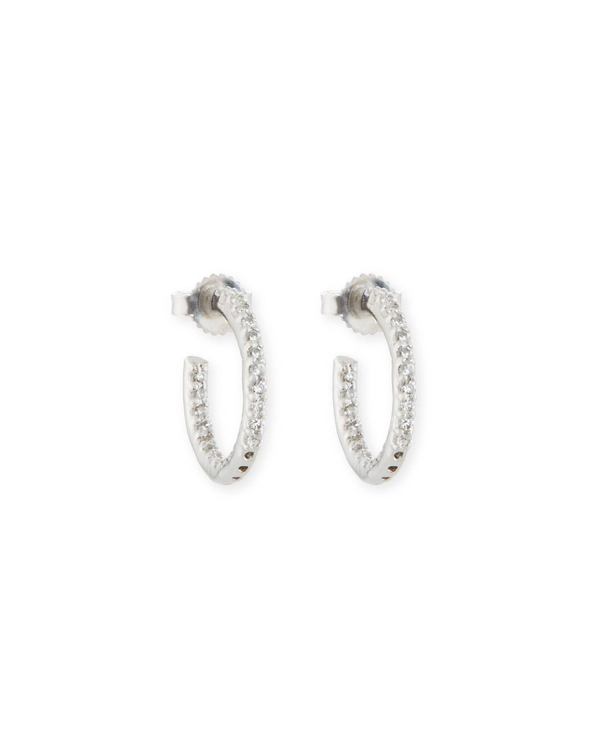 Fantasia by DeSerio Tiny Inside-Out CZ Hoop Earrings