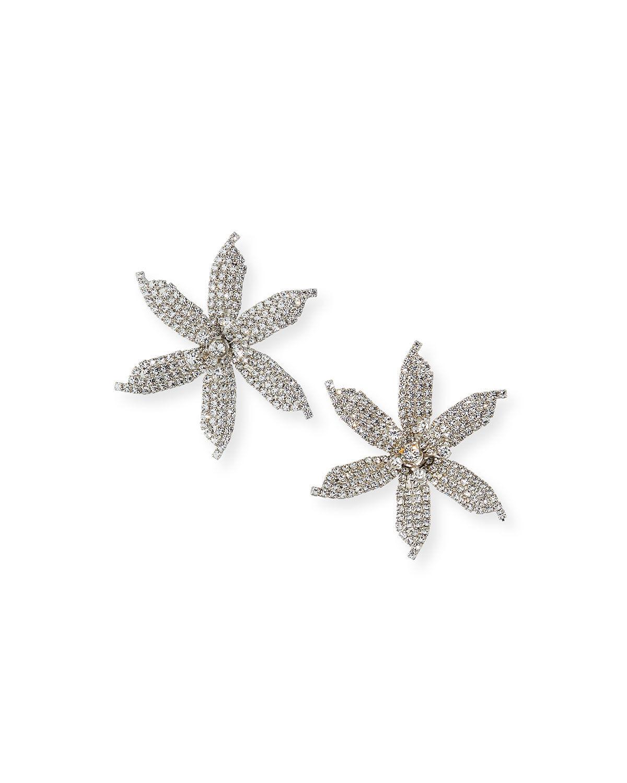 Jennifer Behr Laela Large Crystal Orchid Earrings