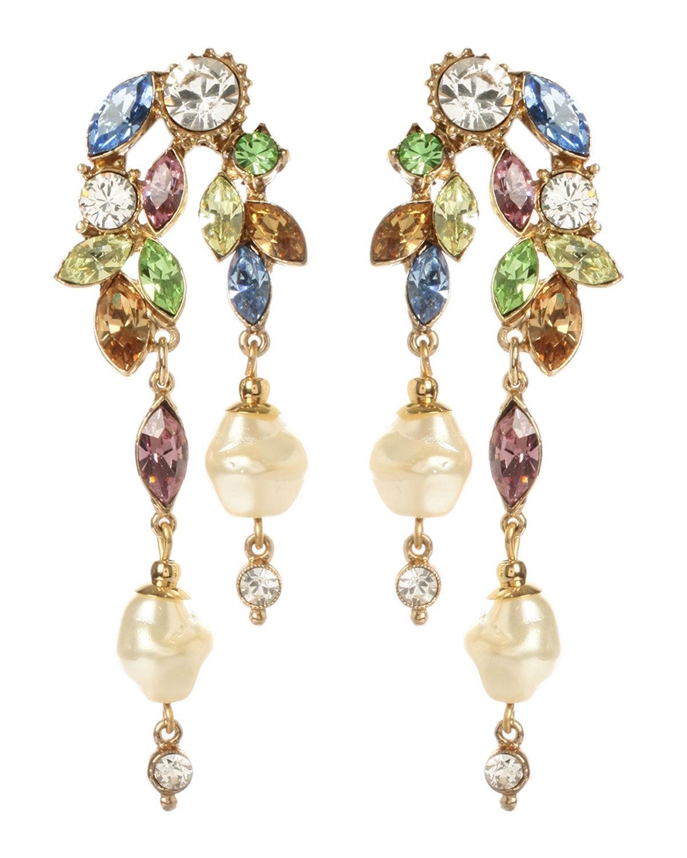 Ben-Amun Crystal Garden Linear 2-Drop Pearly Earrings