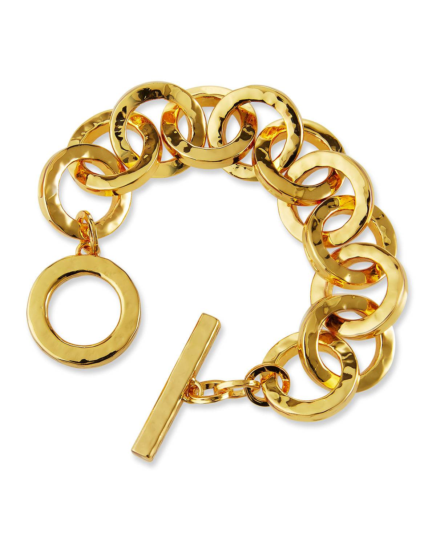 NEST Jewelry Hammered Gold Link Bracelet