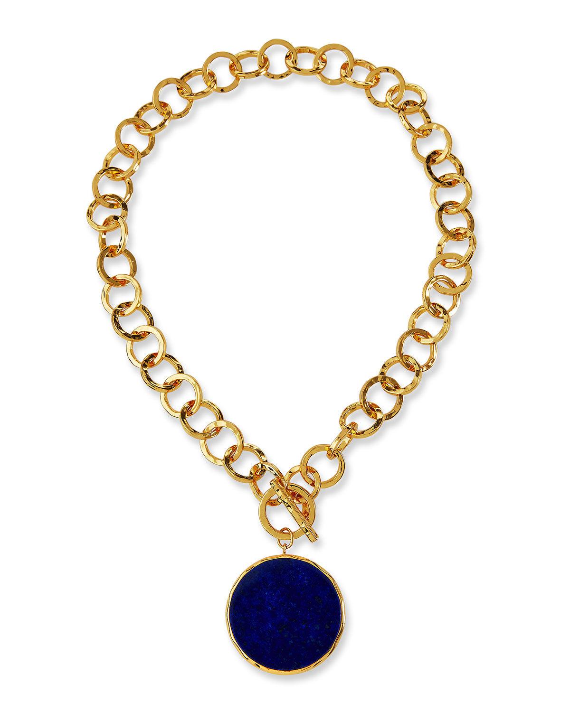 NEST Jewelry Hammered Gold Link Lapis Bezel Necklace