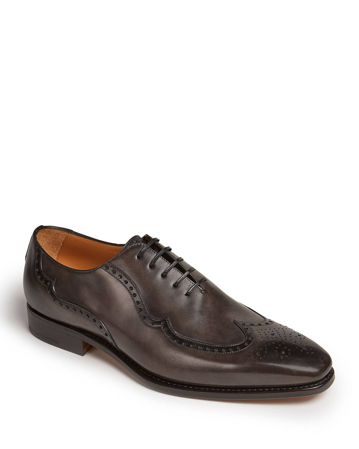 Paul Stuart Men's Milano Wing-Tip Hand-Burnished Leather Oxford Shoes - Size: 8.5D