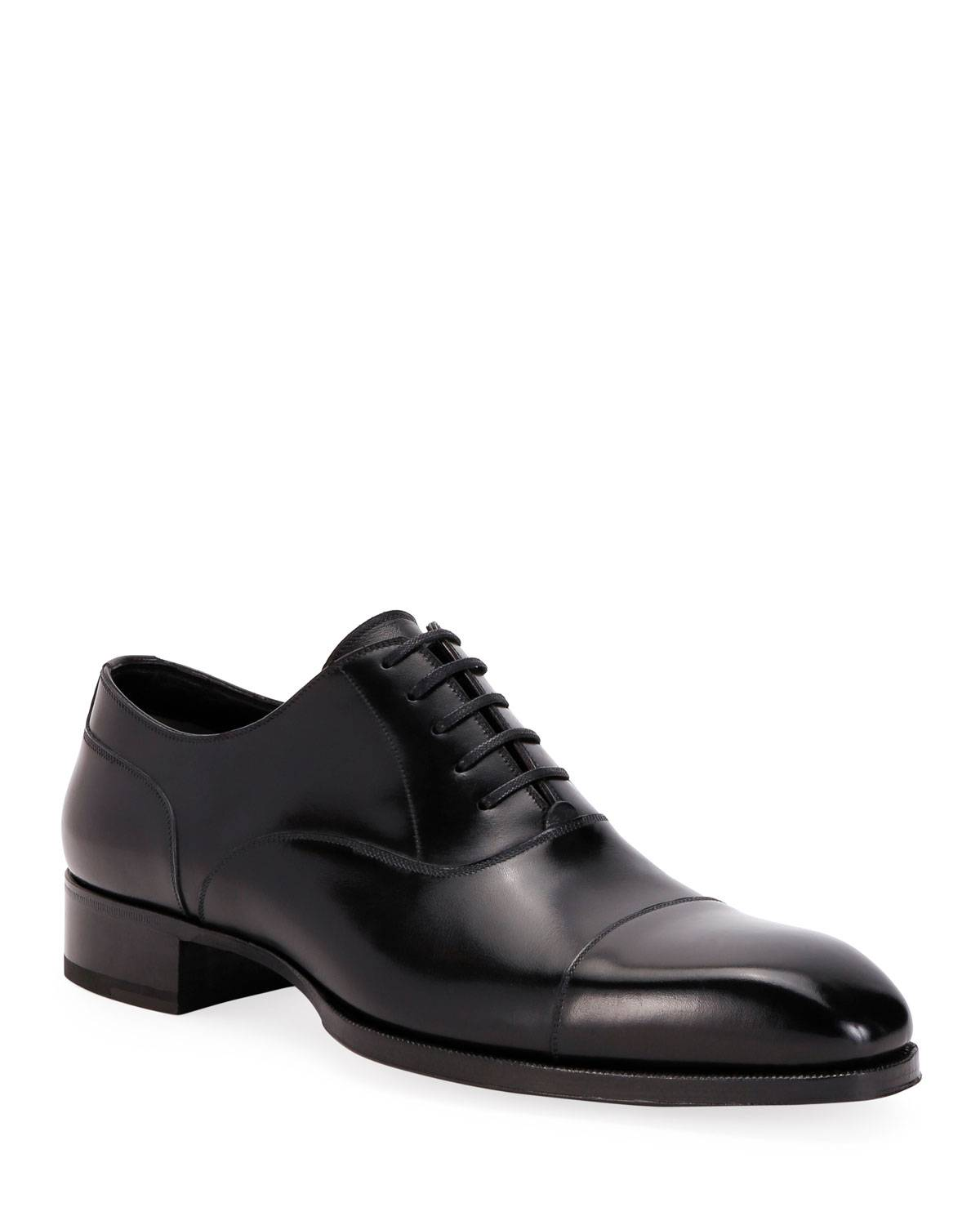 TOM FORD Men's Formal Leather Cap-Toe Oxford Shoes - Size: 8 UK (9D US)