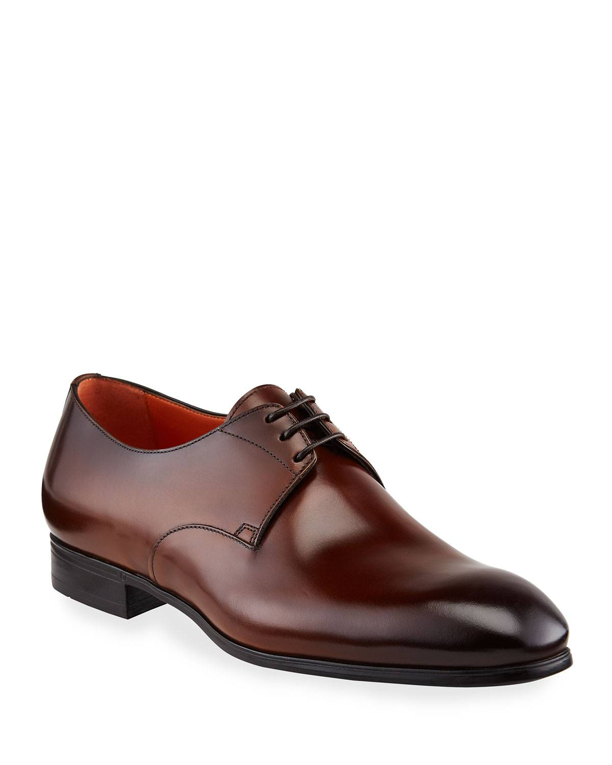 Santoni Men's Induct Burnished Leather Derby Shoes - Size: 11D
