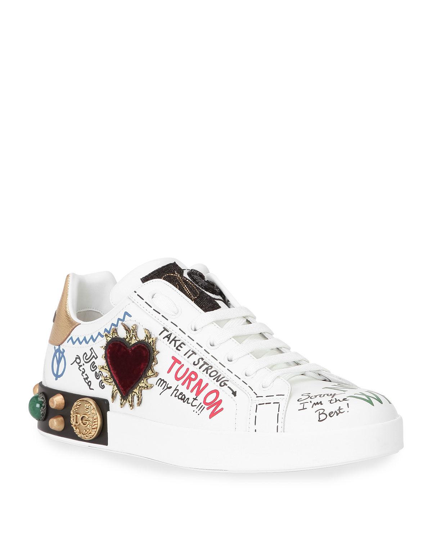 Dolce & Gabbana Men's Portofino Typographic Logo Low-Top Sneakers - Size: 43 EU (10D US)