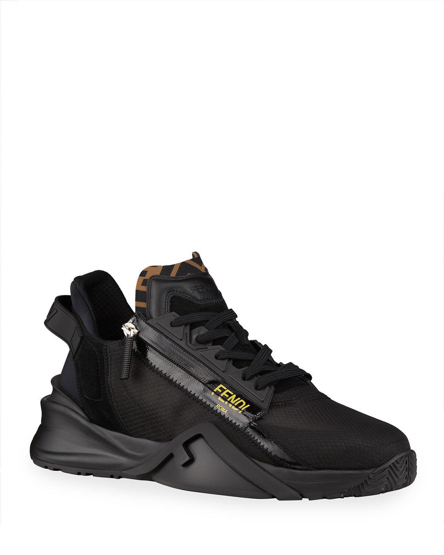 Fendi Men's Mixed-Media Zip Runner Sneakers - Size: 13 UK (14D US)
