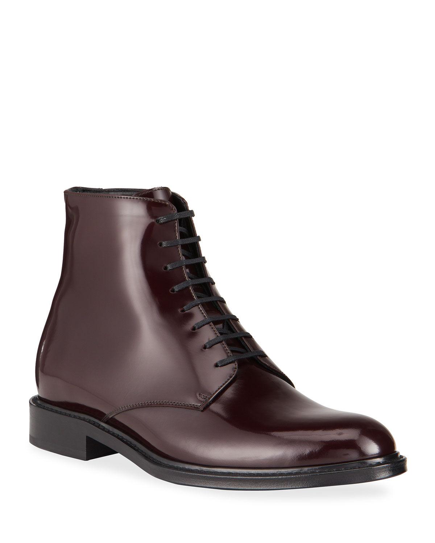 Saint Laurent Men's Army Patent Leather Lace-Up Boots - Size: 43 EU (10D US)
