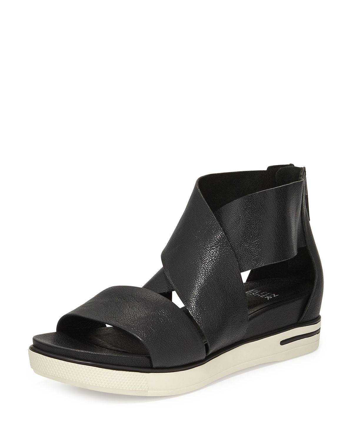 Eileen Fisher Sport Wide-Strap Leather Sandal, Black - Size: 40 IT (10B US)