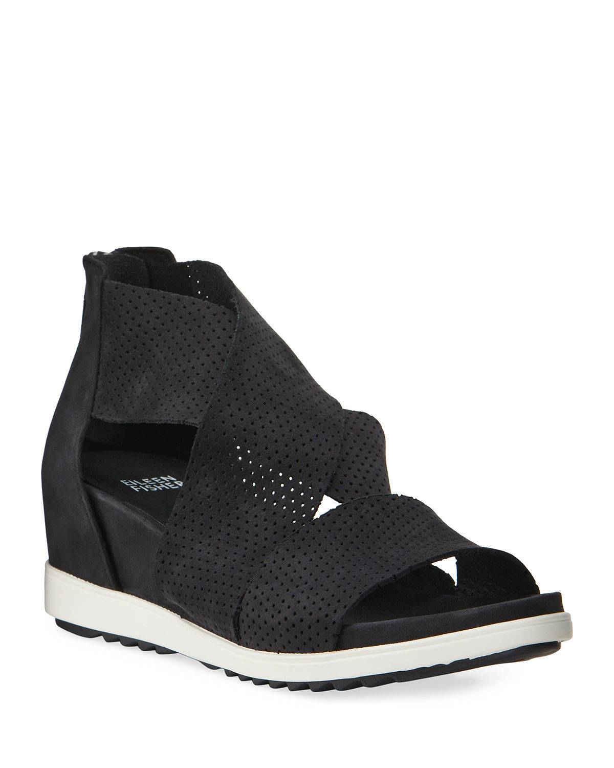 Eileen Fisher Voice Perforated Demi-Wedge Sport Sandals - Size: 8.5B / 38.5EU