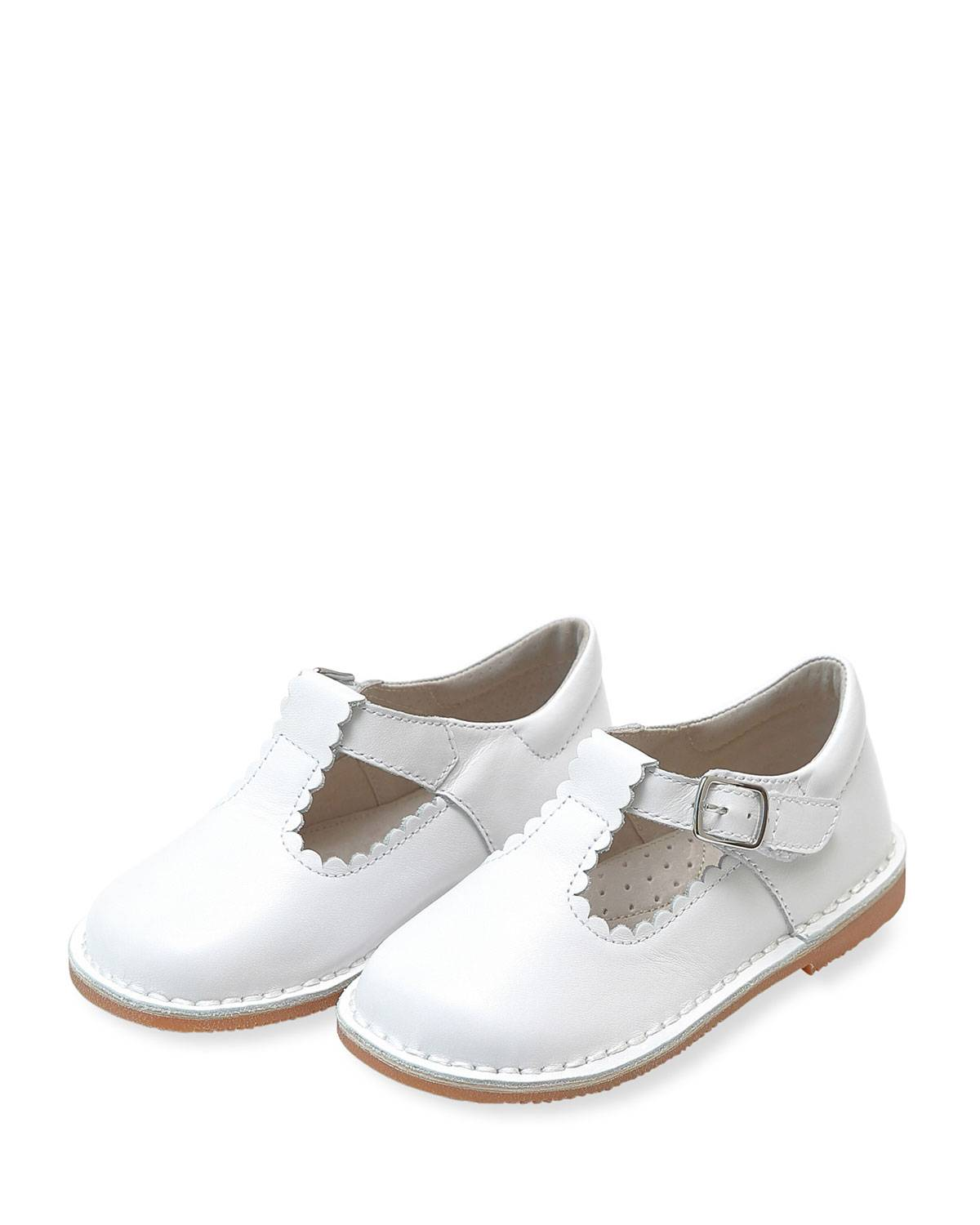 L'Amour Shoes Selina Scalloped T-Strap Leather Mary Janes, Baby/Toddler/Kids - Size: 10 Tod