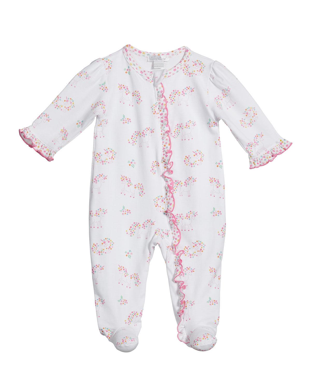 Kissy Kissy Girl's Unicorn Gardens Zip-Front Footie Playsuit, Size Newborn-9M - Size: 3-6 Months