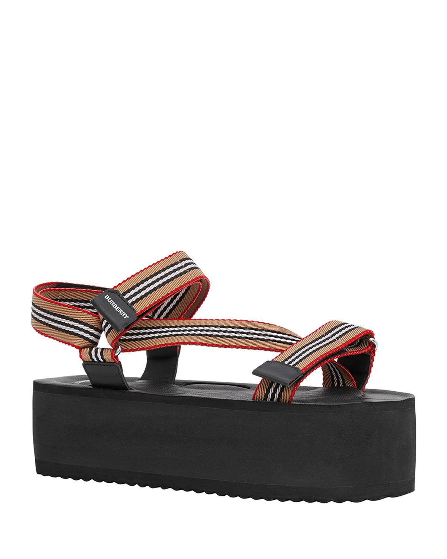 Burberry Patterson Striped Sport Sandals - Size: 5B / 35EU