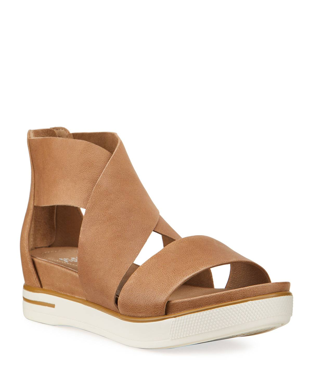Eileen Fisher Leather Zip Sport Sandals - Size: 6B / 36EU