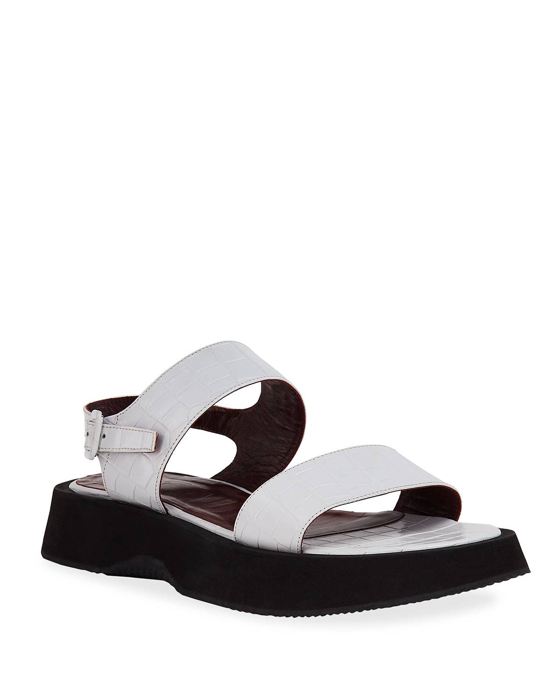 Staud Nicky Moc-Croc Sport Sandals - Size: 7B / 37EU