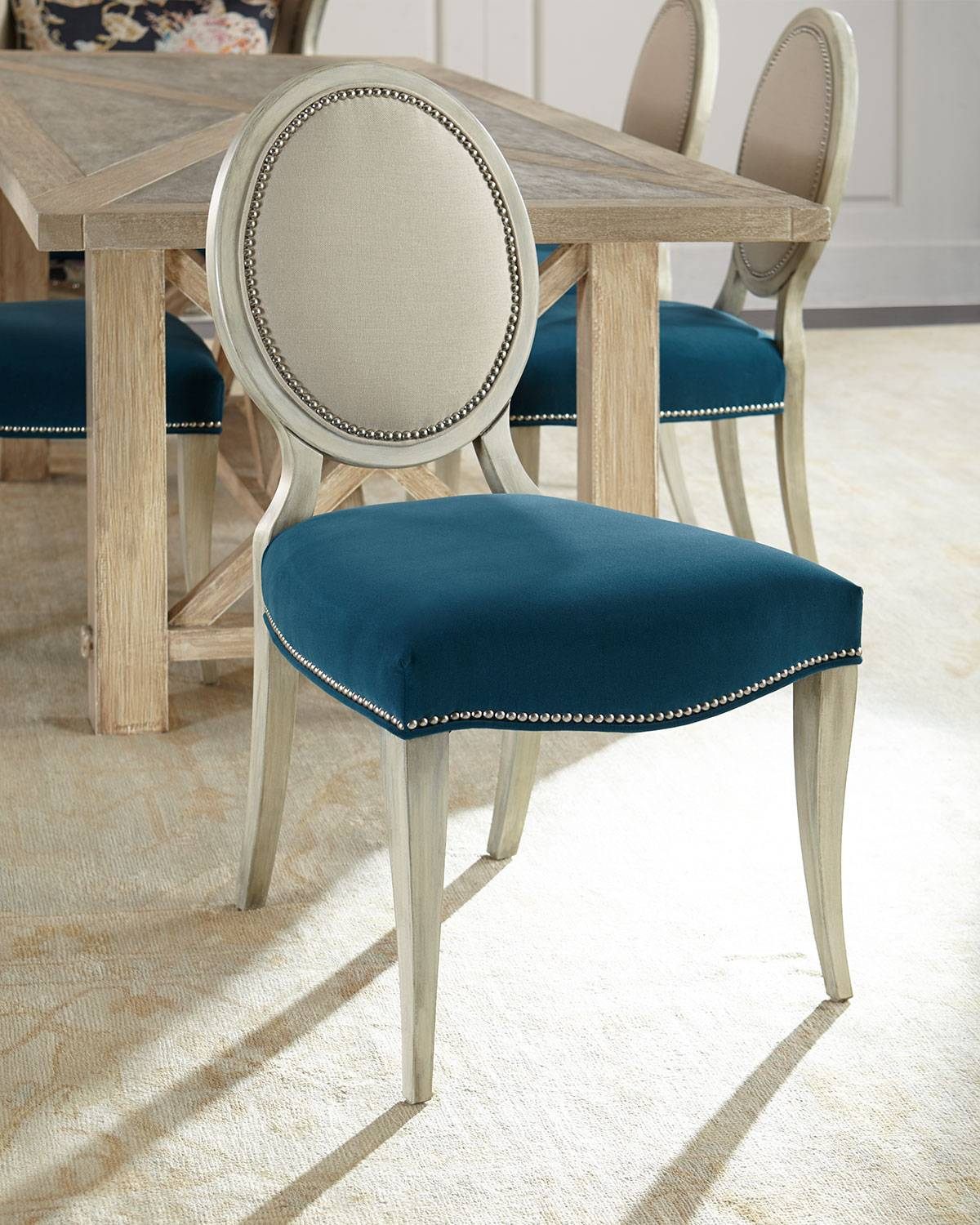 Massoud Paige Linen Dining Chair - NATURAL / PEACOCK