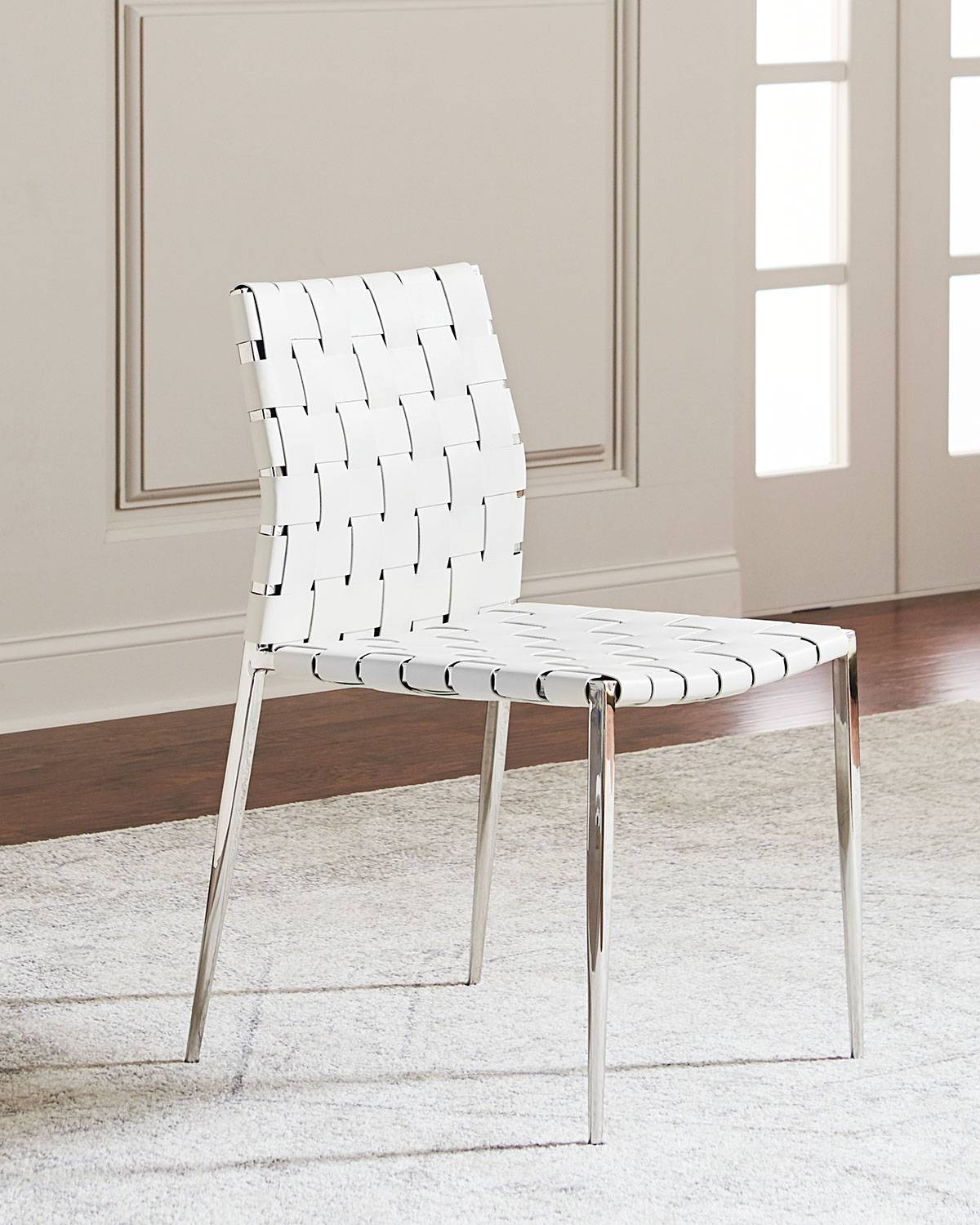 Interlude Home Kennedy Woven Leather Dining Chair, White