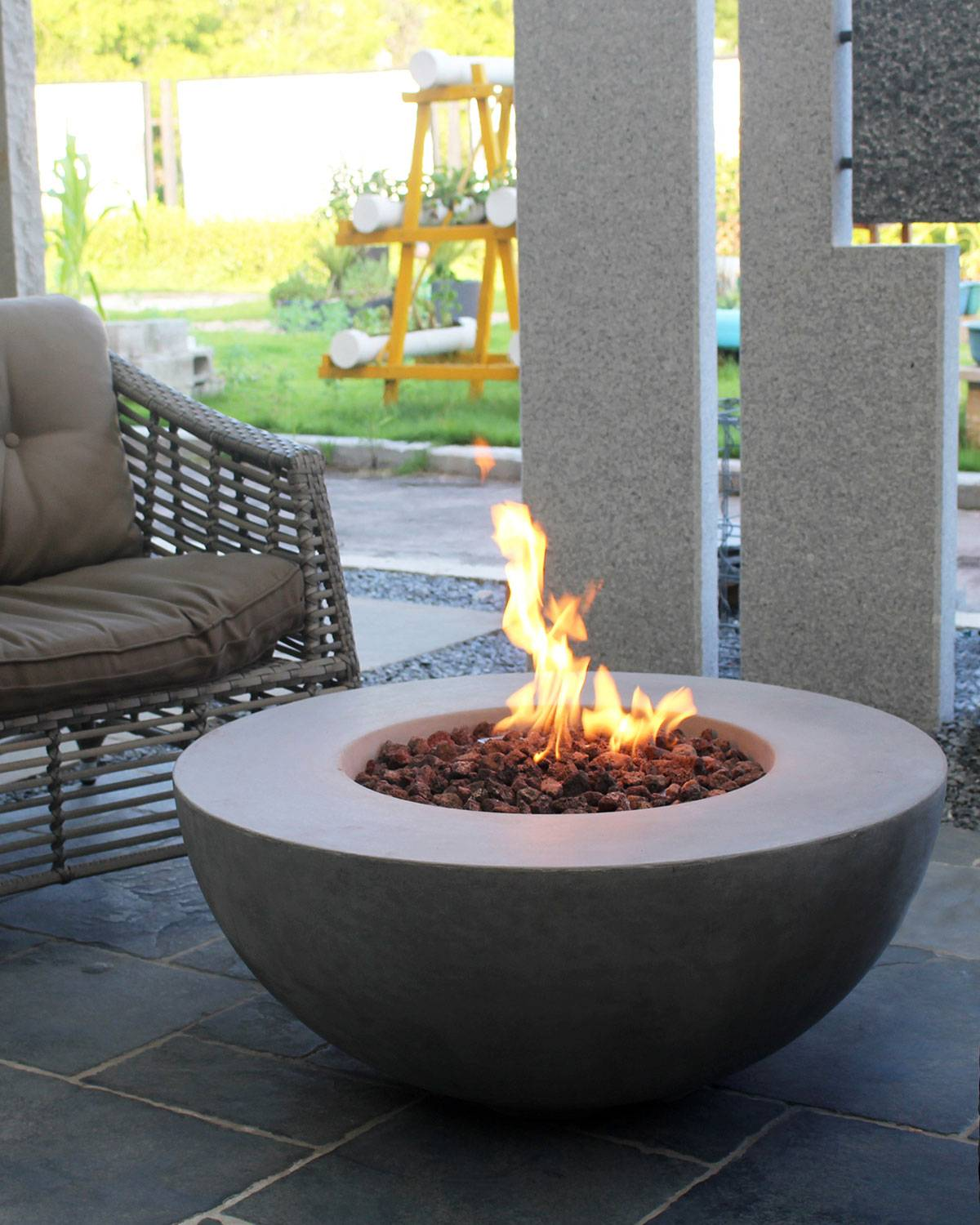 Elementi Lunar Bowl Outdoor Fire Pit Table with Propane Gas Assembly