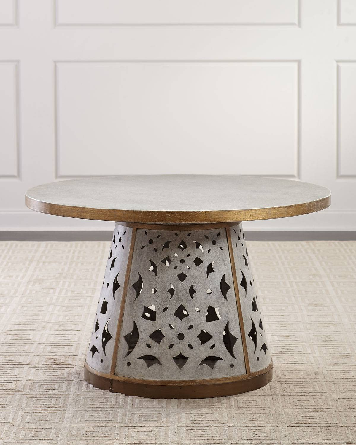 D'Andre Dining Table - PALE GRAY/GOLD