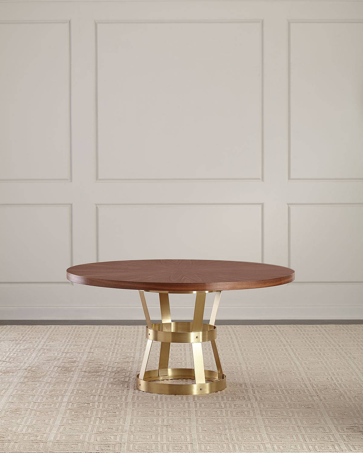 Round Walnut Dining Table - BROWN