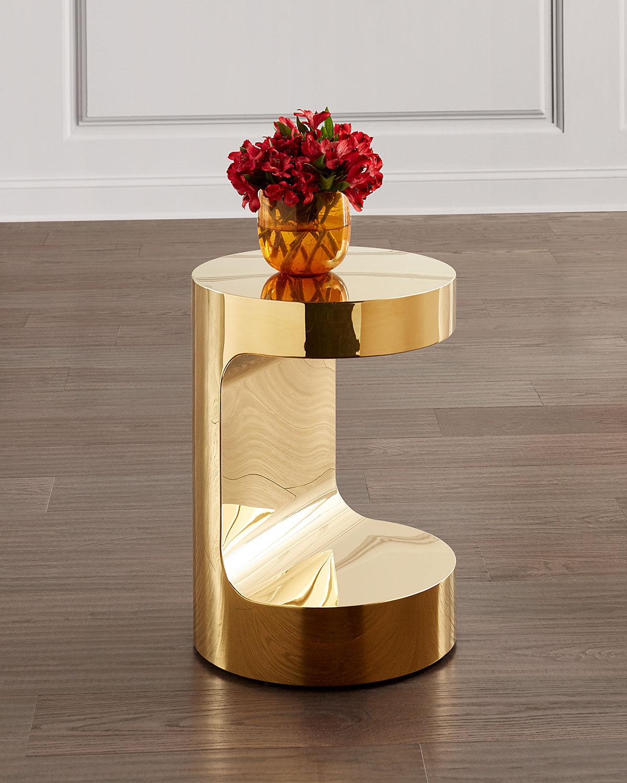 Interlude Home Dorset Round Hugging Table, Polished Brass - POLISHED BRASS