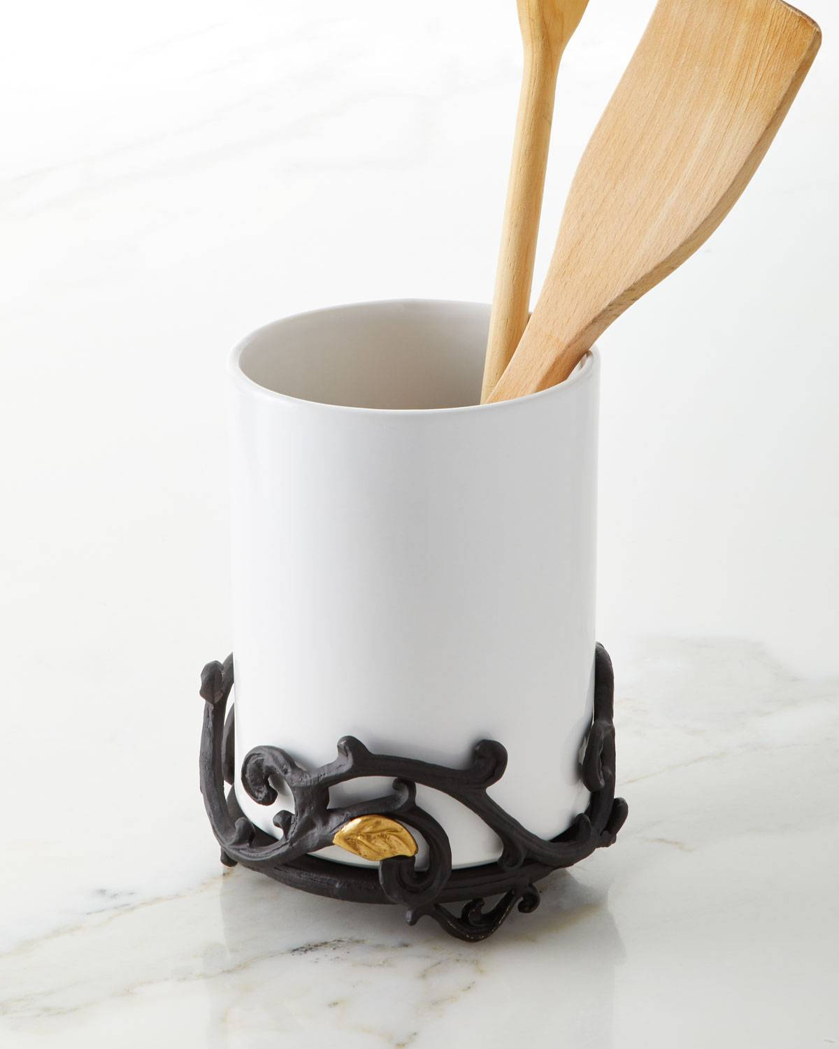 G G Collection White Stoneware Utensil Holder with Metal Gold Leaf Base