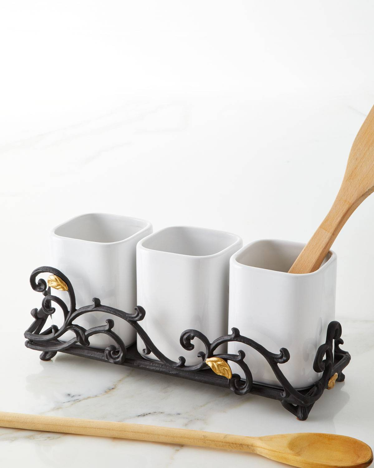 G G Collection White 3-Piece Stoneware Utensil Holder with Metal Gold Leaf Base
