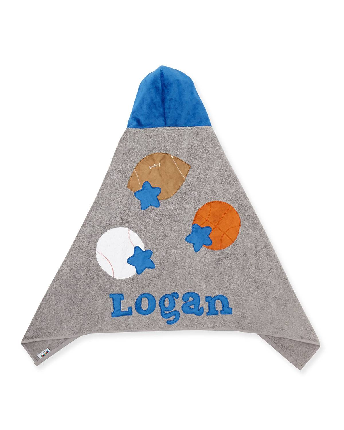 Boogie Baby Personalized Good Sport Hooded Towel, Gray/Blue - Size: male