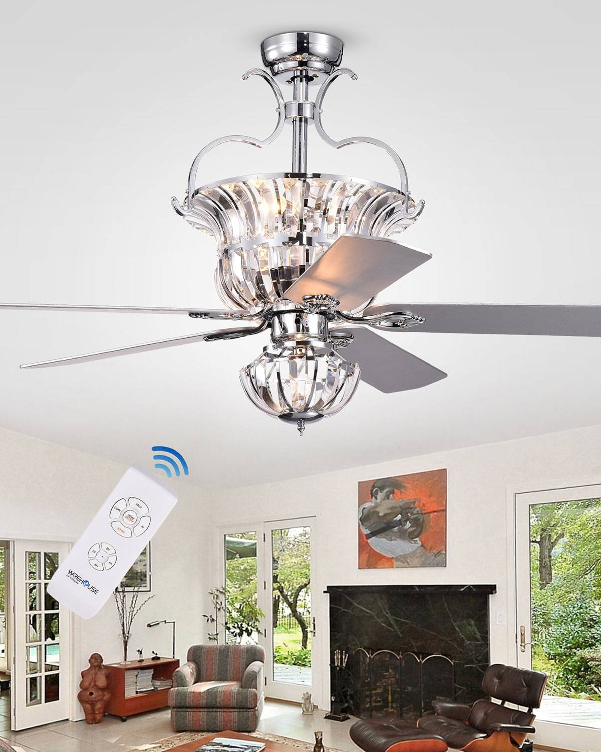 Home Accessories Crystal Accented Chandelier Ceiling Fan