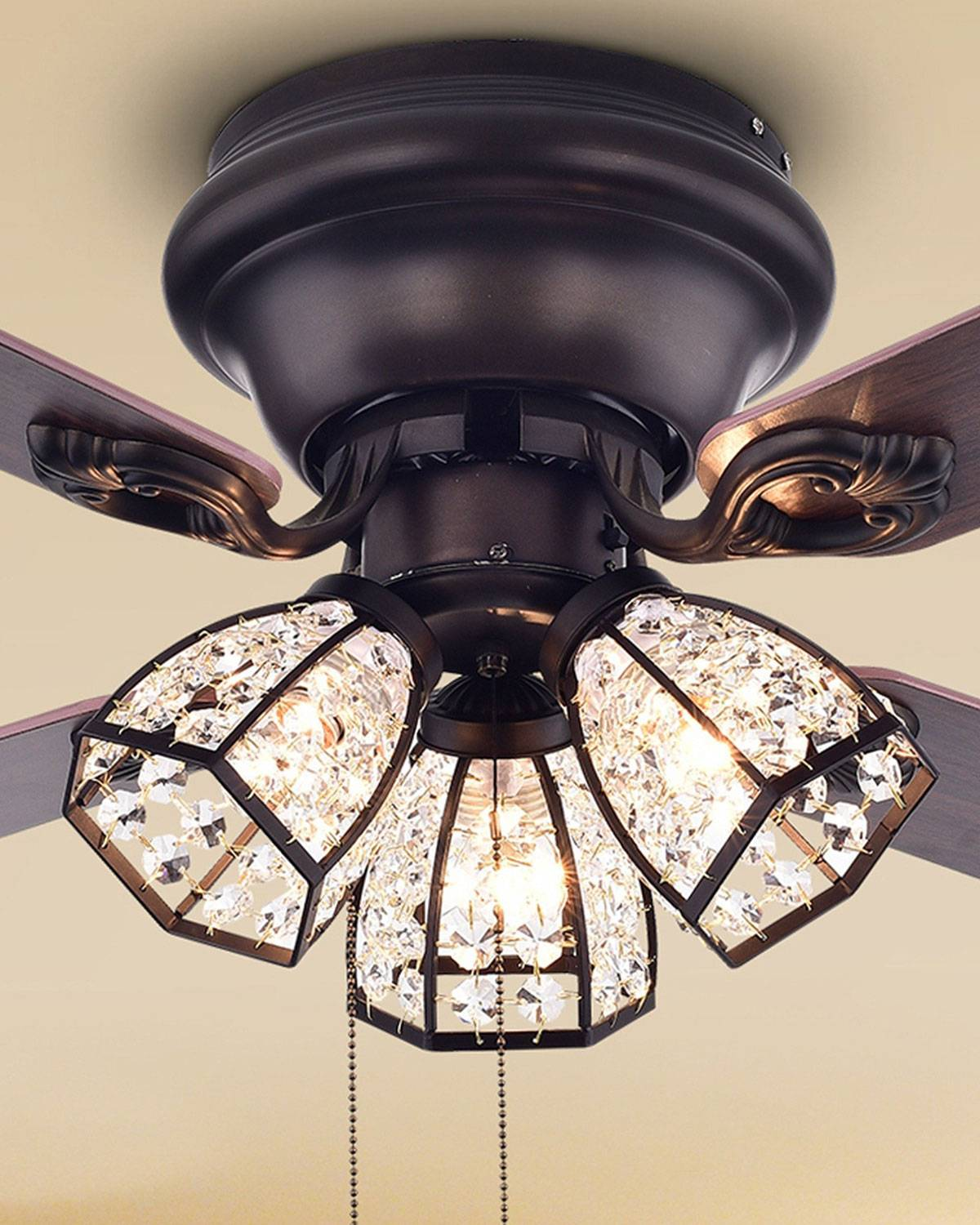 Home Accessories Antiqued Bronze Chandelier Ceiling Fan