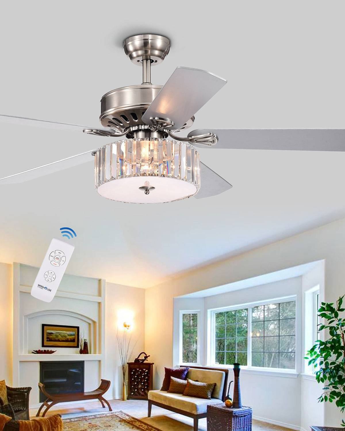 Home Accessories Crystal Slab Chandelier Ceiling Fan