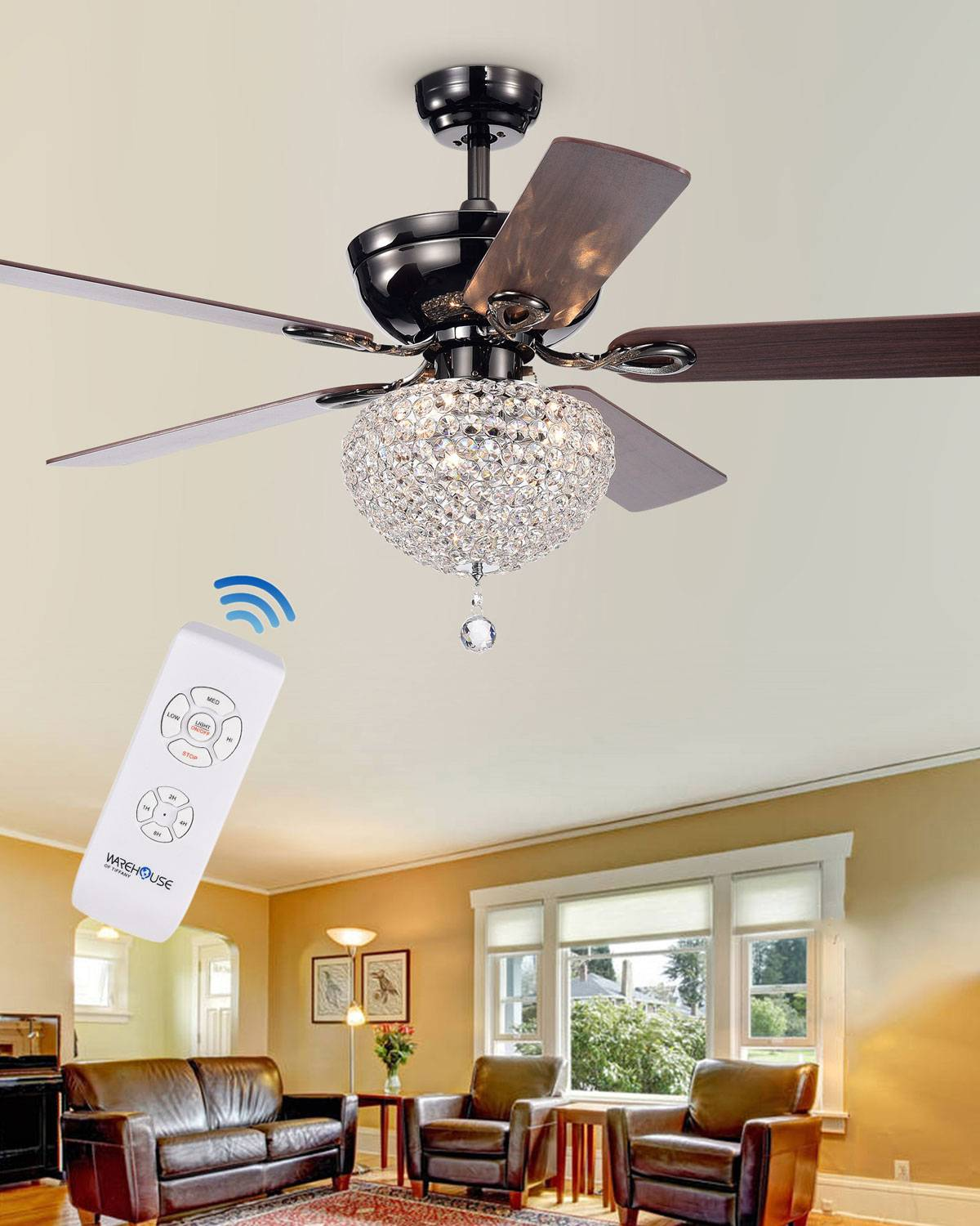 Home Accessories Dome Crystal Chandelier Ceiling Fan