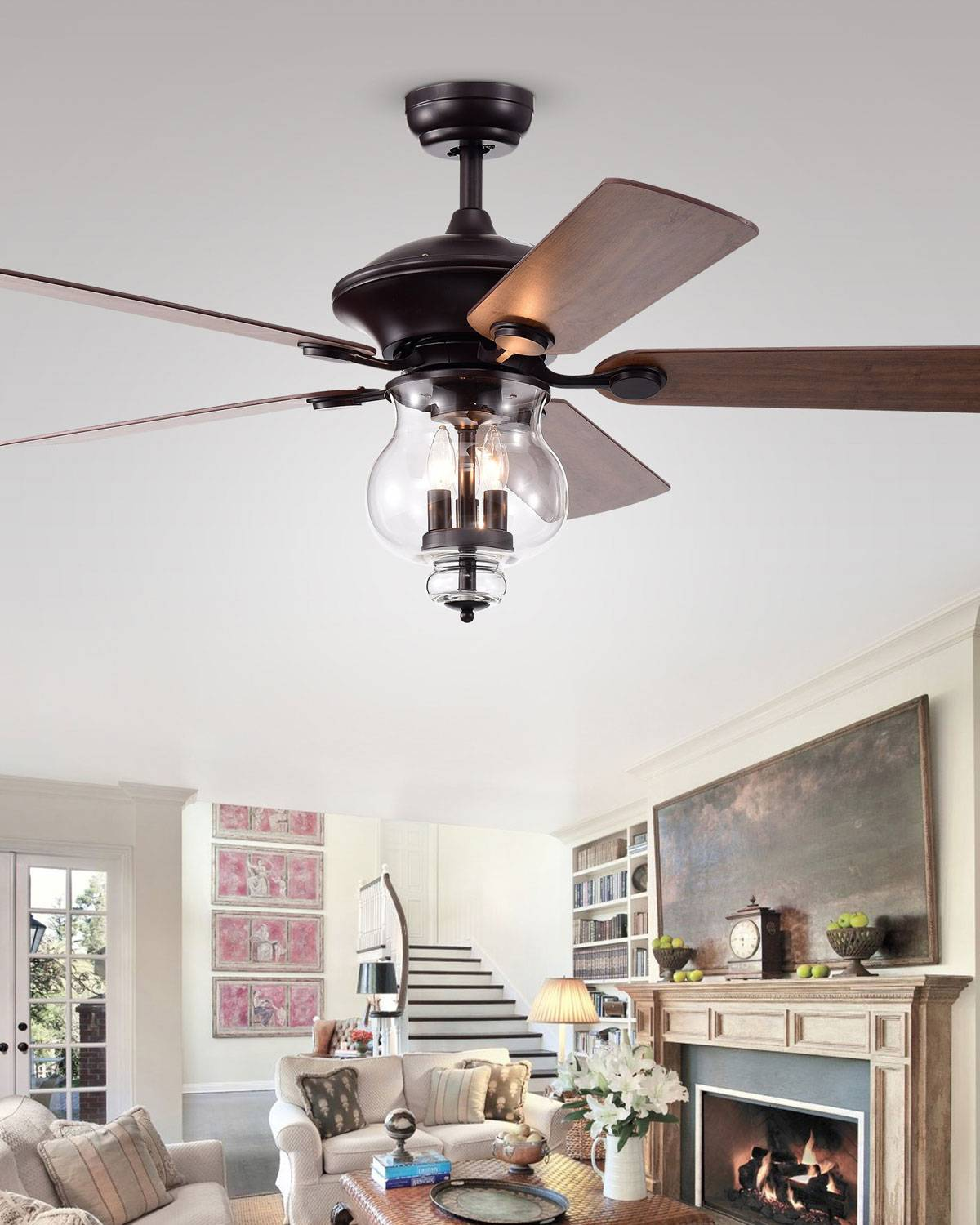 Home Accessories Glass Bowl Chandelier Ceiling Fan