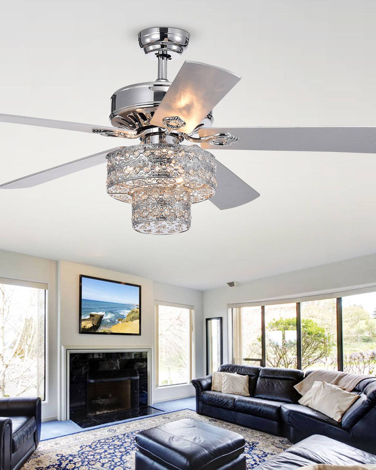 Home Accessories Two-Tier Embedded Crystal Chandelier Ceiling Fan