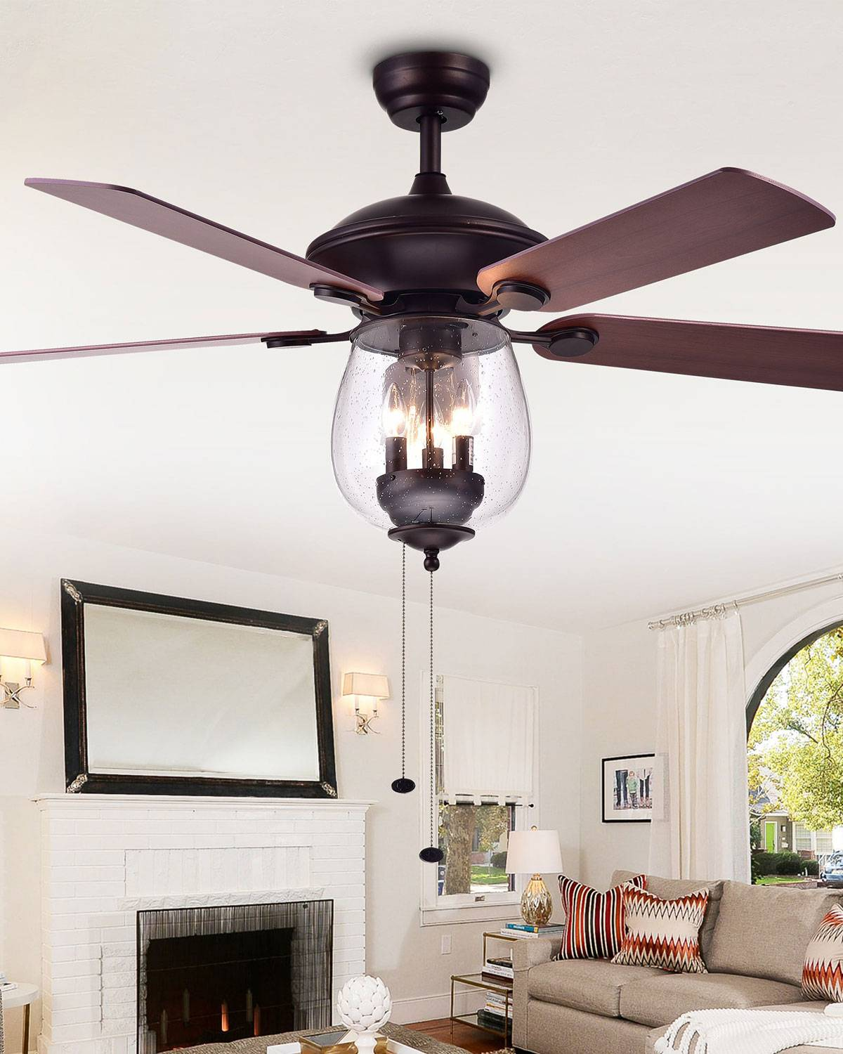 Home Accessories Seeded Glass Bowl Chandelier Ceiling Fan