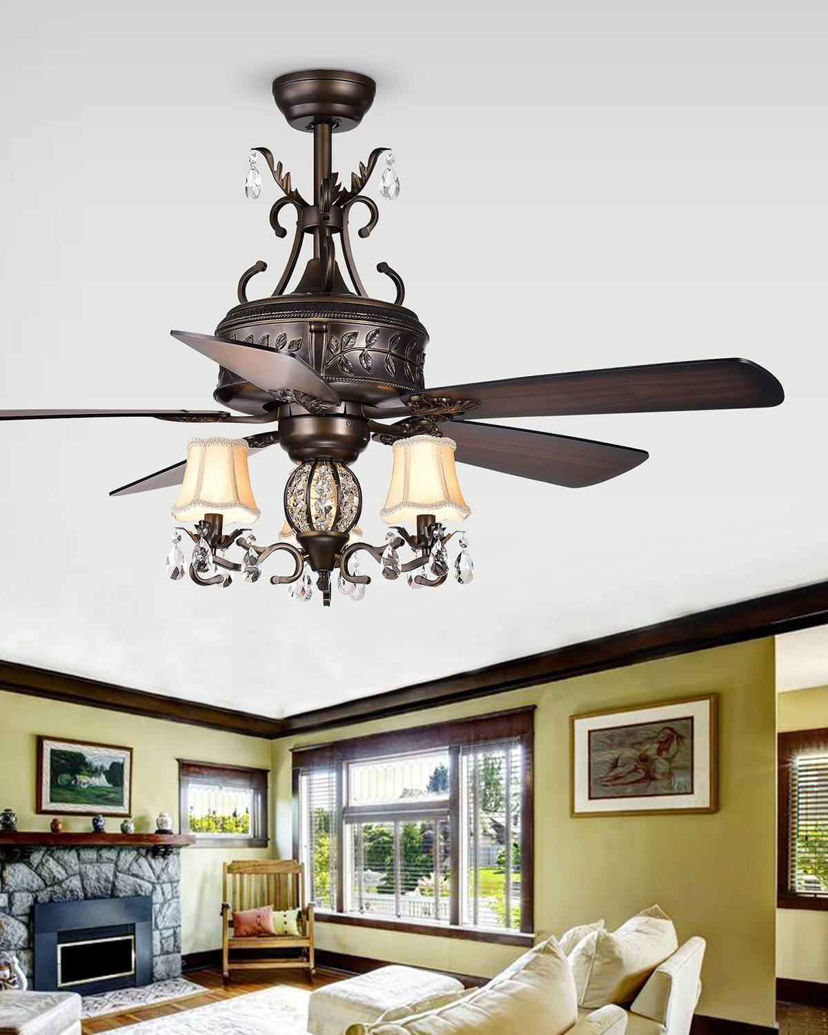 Home Accessories Branched Crystal Drop Chandelier Ceiling Fan